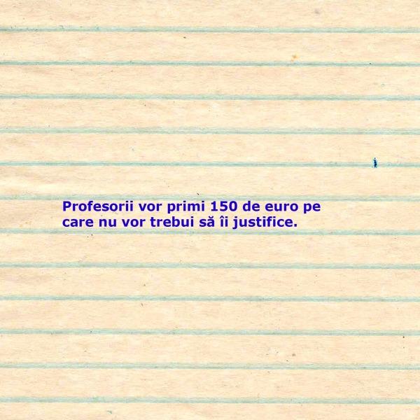 150 de euro pentru profesori
